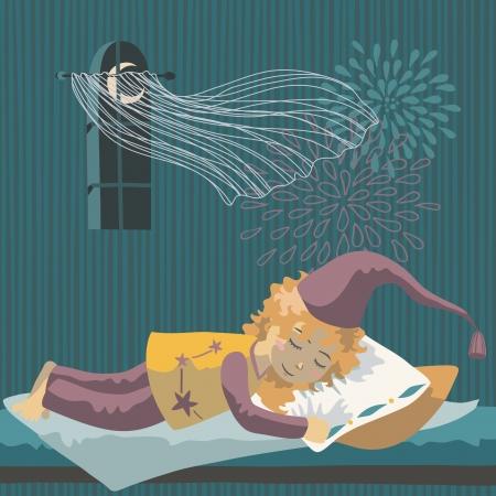 Sleeping girl in long nightcap Stock Vector - 22563099