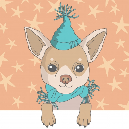 chihuahua dog: Illustration of chihuahua in cap