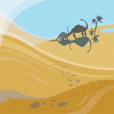 Two dinosaures walking to oasis Vector