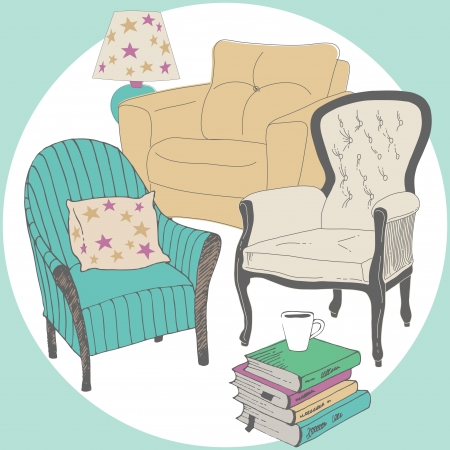 Assortment of armchairs for reading Stock Vector - 22868843
