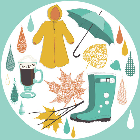 rainy days: Necessary objects of rainy day Illustration