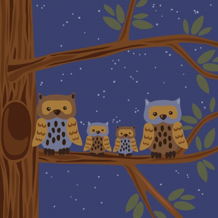 man looking at sky: Illustration of owl family on the tree Illustration
