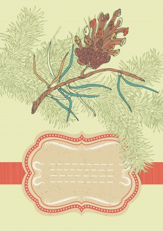 coniferous: Old-fashioned frame and coniferous twig Illustration