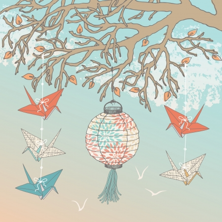 Paper cranes and paper lantern hanging on tree branch Vector