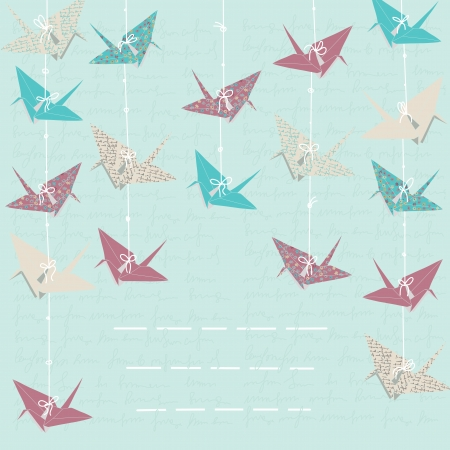 folded paper: Card with hanging paper cranes
