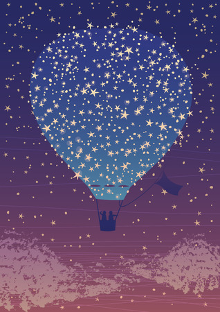 inflating: Illustration of hot air balloon in the night sky among the stars Illustration