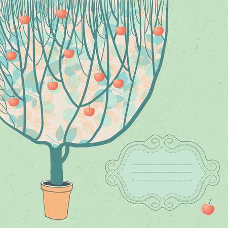 Big apple tree and frame Vector
