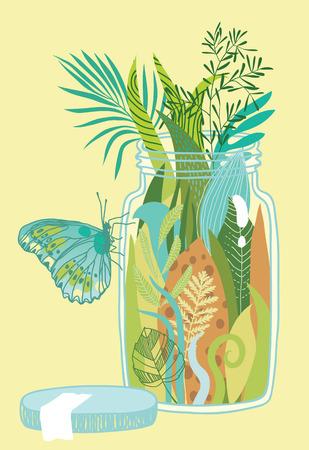 lussureggiante: Illustrazione di una vegetazione lussureggiante nel vaso di vetro
