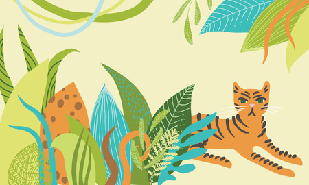 lying in: Illustration of tiger lying in the bushes Illustration