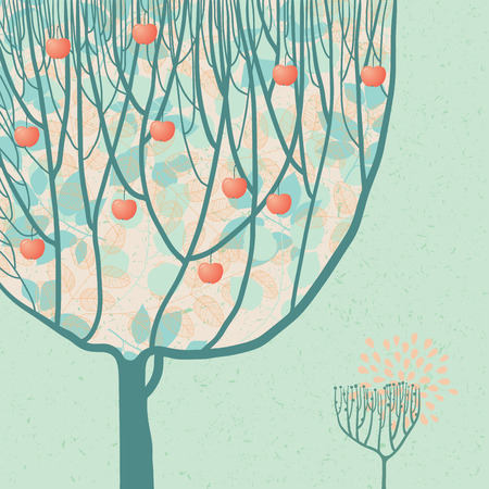 appletree: Heavy branches of an apple-tree with mature fruits Illustration
