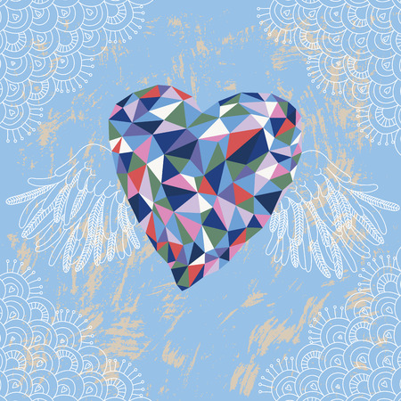 heart with wings: Illustration of crystal heart with lacy wings Illustration