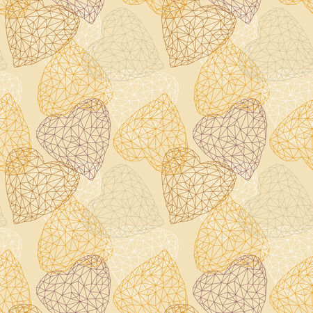 mustard: Yellow seamless pattern with crystal hearts