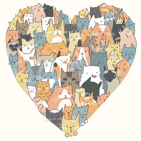 Illustration de chats, assis dans la forme de coeur