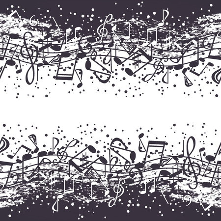 jumble: Black-and-white waves of musical symbols Illustration