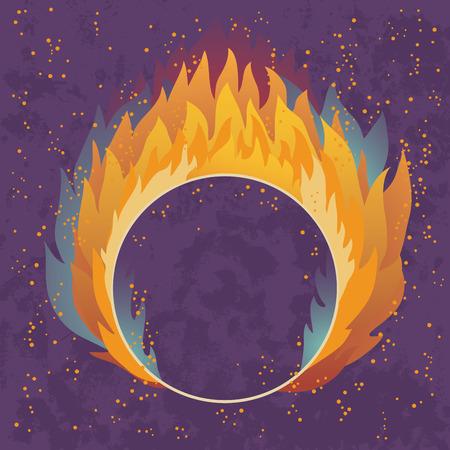 fire ring: Obst�culo en forma de un anillo en el fuego Vectores