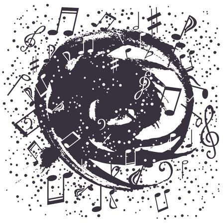 g spot: Black-and-white swirl of musical symbols