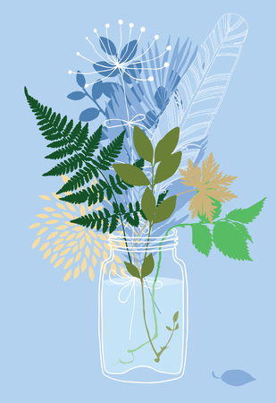 the petal: Plants in a glass jar Illustration