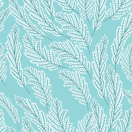 raceme: Seamless pattern with white flowers on the blue background
