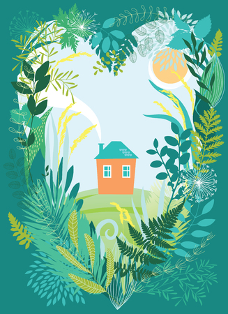 beautiful homes: House in thickets of plants Illustration