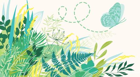 Schmetterling fliegt aus Gras Vektorgrafik