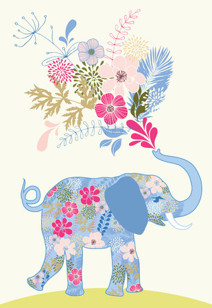 patterned elephant with bunch of pink flowers royalty free cliparts