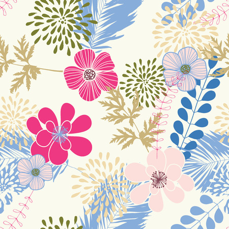 flower head: Seamless pattern with blue leaves and pink flowers