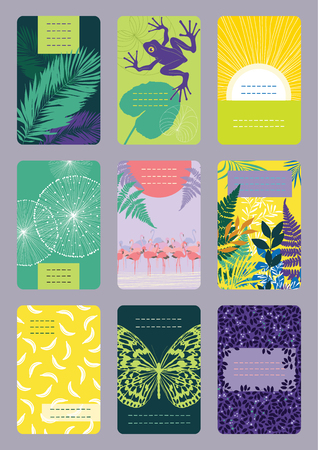 colourful business: Set of vertical colourful business cards Illustration