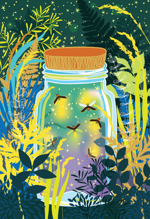 firefly: Illustration of fireflies in a glass jar