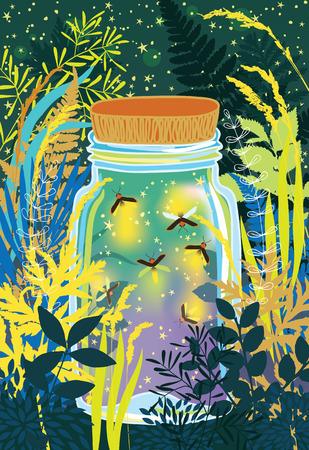 Illustration of fireflies in a glass jar