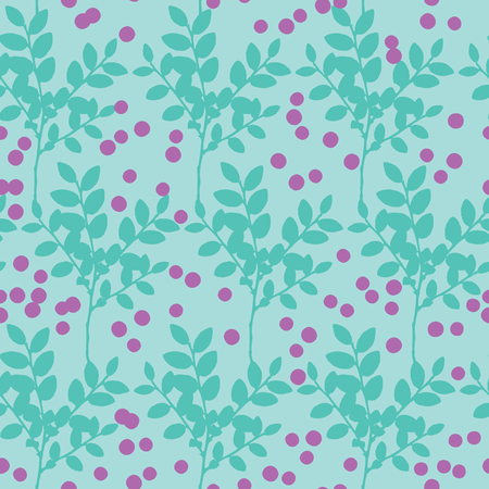 blueberry bushes: Seamless pattern with blueberry bushes and berries Illustration
