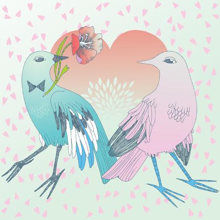 uprzejmości: Bird in love, giving the flower to its sweetheart Ilustracja