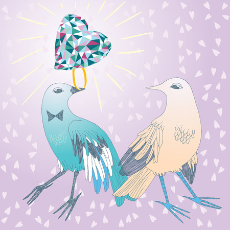 attentions: Bird in love, giving the brilliant ring to its sweetheart Illustration