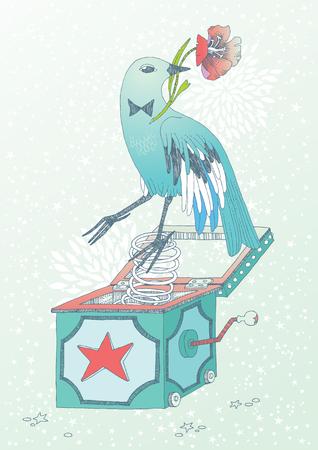 Niebieski ptak z kwiatem, wyskakuje z pola