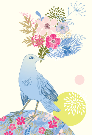 bunch of flowers: Bird with bunch of pink flowers