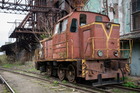 nonworking: non-working train on the tracks in Russia