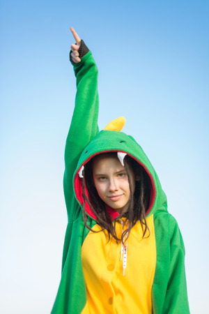 dreadlocks: Girl dragon kigurumi with dreadlocks Stock Photo