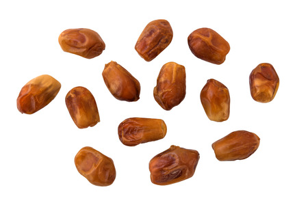 deglet: Dried juicy dates on white background
