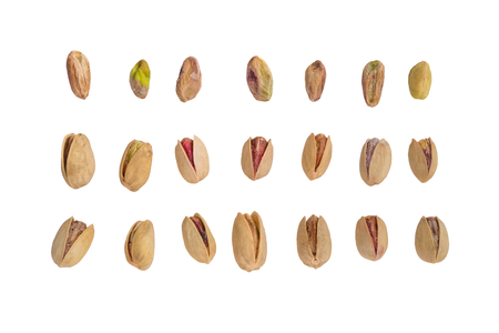 Collection of Pistachio nuts, isolated on white background