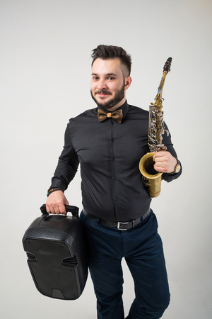 Saxophone Player Saxophonist with Sax Banque d'images