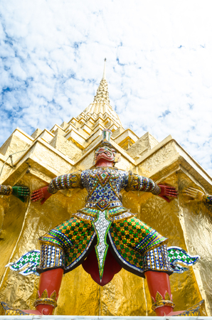 The demon guardian in the Wat Phra Kaew Bangkok Thailand Stock Photo
