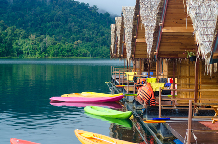 Khayak on Lake at Ratchaprapa dam, Khaosok National park in Thailand