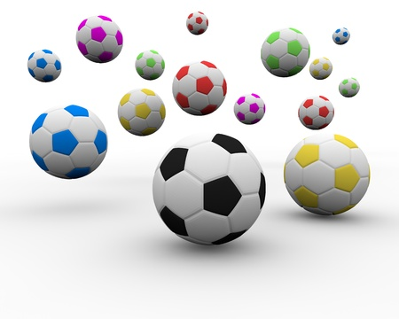 golden ball: multi color soccer ball Stock Photo