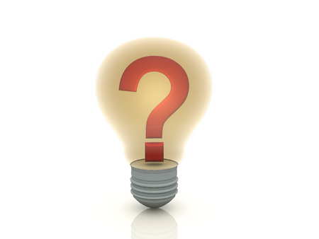 questioner: A question mark andligth bulb on isolate background