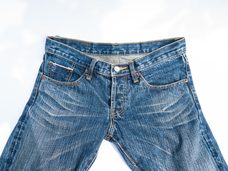 inner wear: A  blue jeans on white background Stock Photo