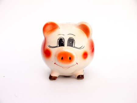 A piggy bank on white background photo