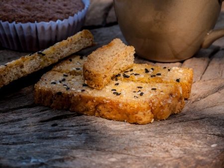 photo of Fresh homemade toasted salt and sesame bread photo