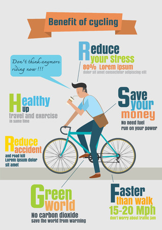 road cycling: Infographic vector of bicycle rider,benefit of cycling