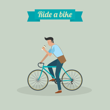 man drinking water: hipster man character riding a bike and drinking water vector ilustration