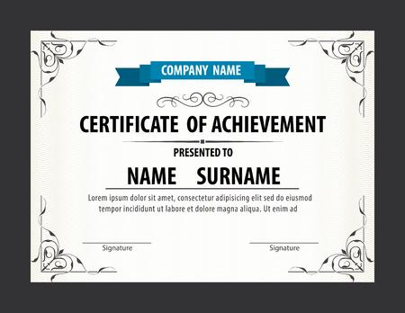 diploma: plantilla de certificado horizontal, diploma, de tamaño Carta, vector Vectores