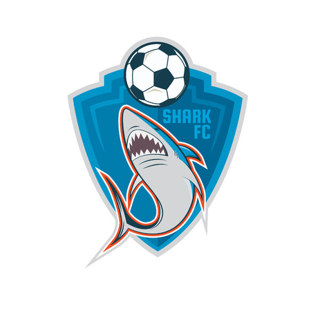 sharks: Football logo design, Blue Shark soccer team, vector illustration